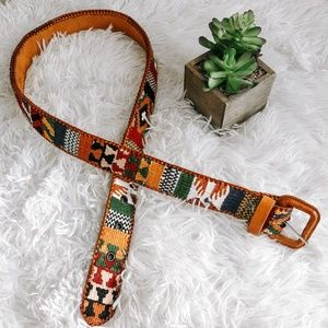 Accessories - Brown Boho Tribal Aztec Geo Print Leather Belt